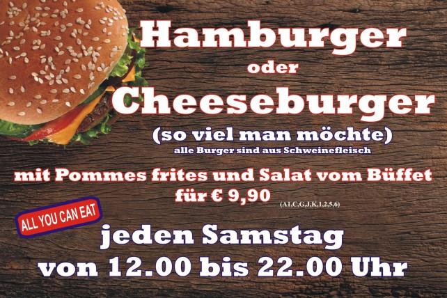Hamburger, Cheesburger, All you can eat, Essen so viel man möchte
