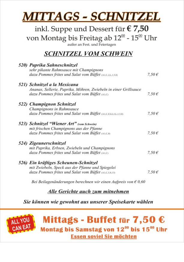 Schnitzel, Mittags-Schnitzel, Mittagstisch, Mittags Essen, Herzogenrath, Kohlscheid